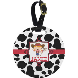 Cowprint Cowgirl Round Luggage Tag (Personalized)