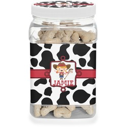 Cowprint Cowgirl Pet Treat Jar (Personalized)