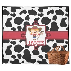 Cowprint Cowgirl Outdoor Picnic Blanket (Personalized)