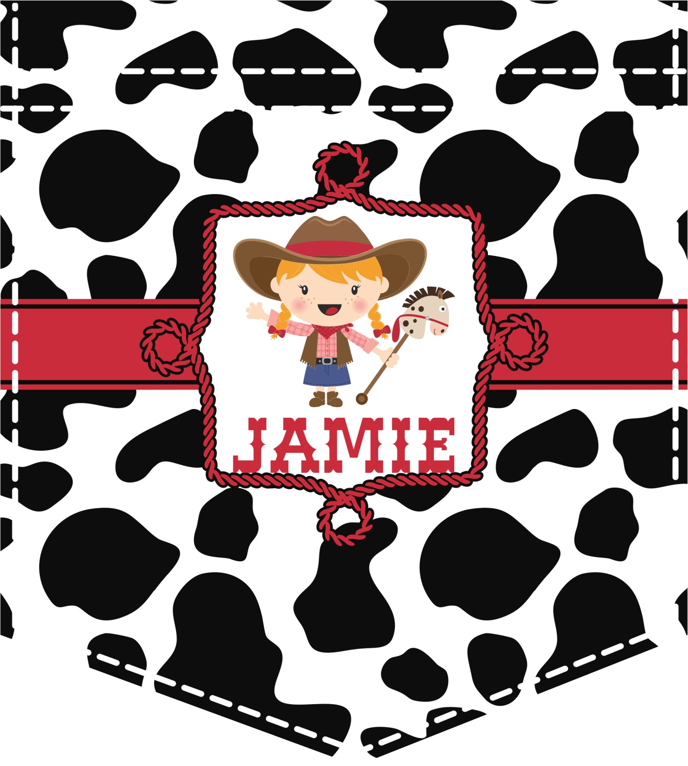 Cowprint Cowgirl Iron On Faux Pocket Personalized Youcustomizeit