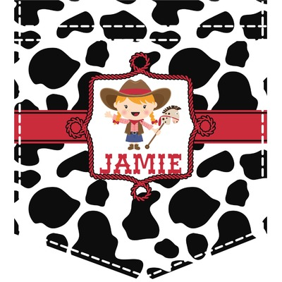 Cowprint Cowgirl Iron On Faux Pocket (Personalized)