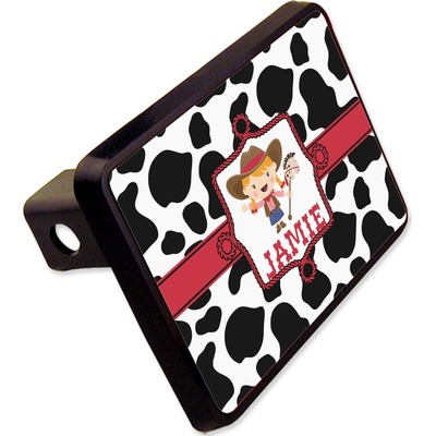 """Cowprint Cowgirl Rectangular Trailer Hitch Cover - 2"""" (Personalized)"""