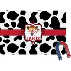 Cowprint Cowgirl Rectangular Fridge Magnet (Personalized)