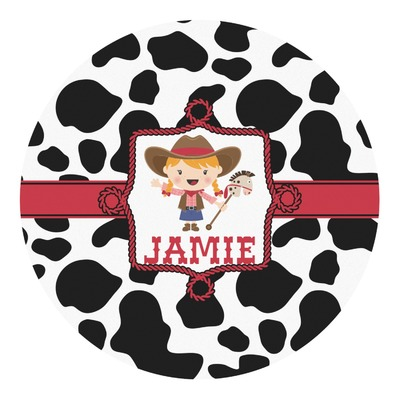 Cowprint Cowgirl Round Decal (Personalized)