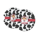 Cowprint Cowgirl Sandstone Car Coasters (Personalized)