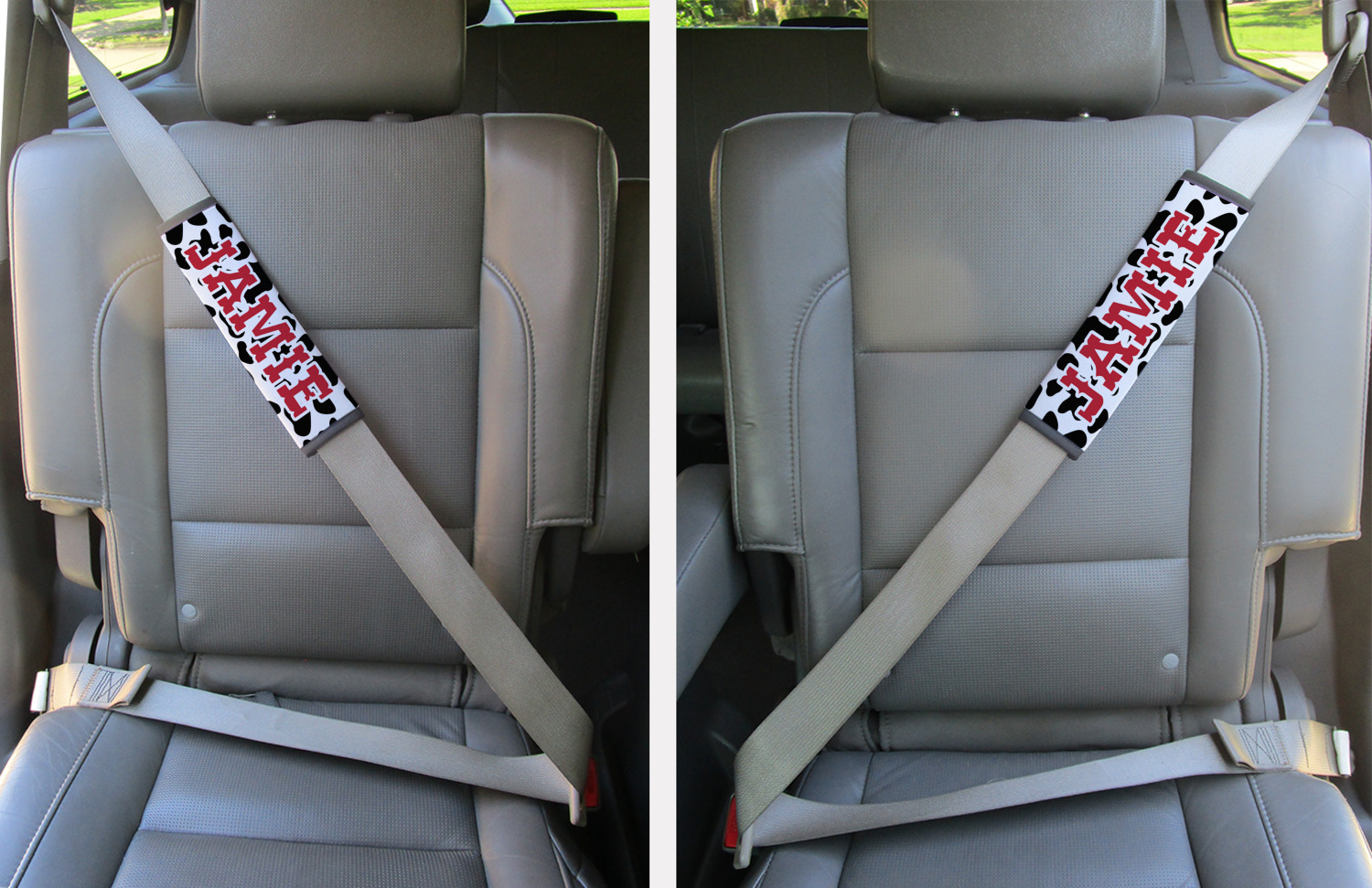 Cowprint Cowgirl Seat Belt Covers (Set of 2) (Personalized ...