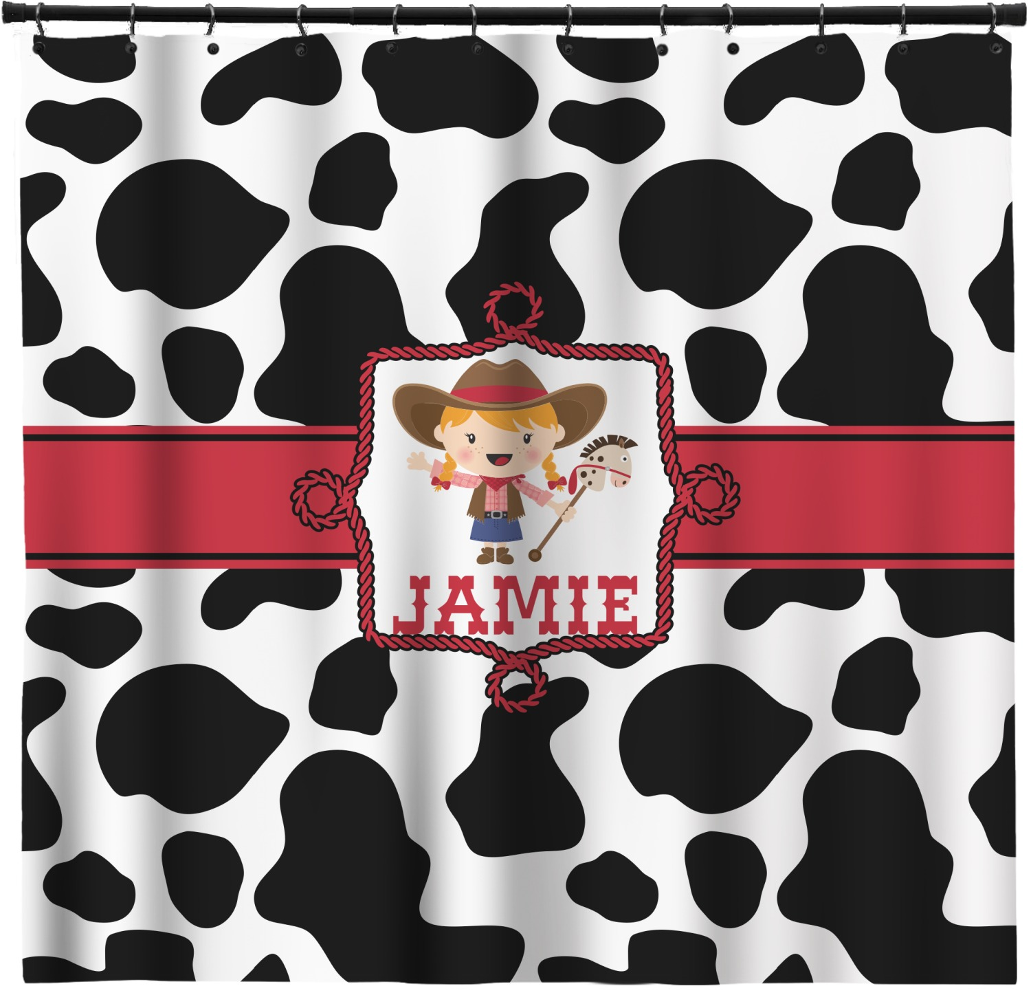 Cowprint Cowgirl Shower Curtain Personalized