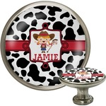 Cowprint Cowgirl Cabinet Knob (Silver) (Personalized)