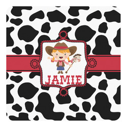 Cowprint Cowgirl Square Decal - Custom Size (Personalized)