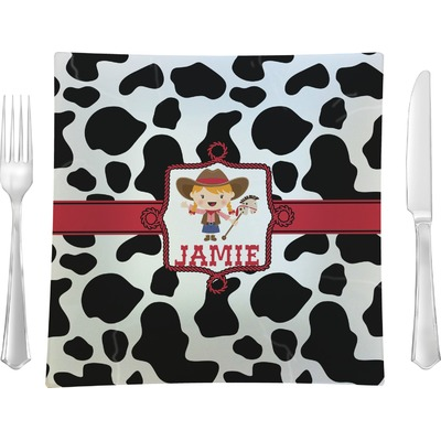 """Cowprint Cowgirl 9.5"""" Glass Square Lunch / Dinner Plate- Single or Set of 4 (Personalized)"""