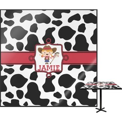 Cowprint Cowgirl Square Table Top (Personalized)