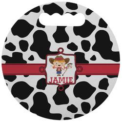 Cowprint Cowgirl Stadium Cushion (Round) (Personalized)