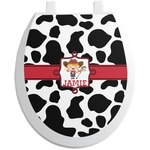 Cowprint Cowgirl Toilet Seat Decal (Personalized)