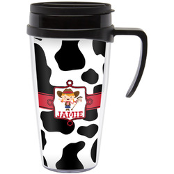 Cowprint Cowgirl Travel Mug with Handle (Personalized)