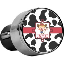 Cowprint Cowgirl USB Car Charger (Personalized)