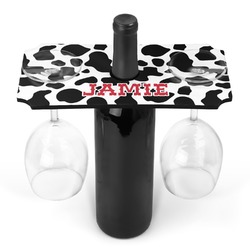 Cowprint Cowgirl Wine Bottle & Glass Holder (Personalized)