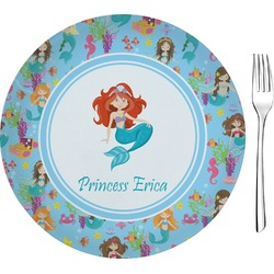 "Mermaids Glass Appetizer / Dessert Plates 8"" - Single or Set (Personalized)"
