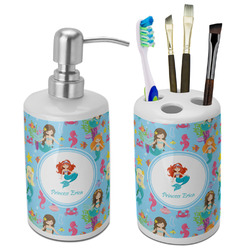 Mermaids Ceramic Bathroom Accessories Set (Personalized)