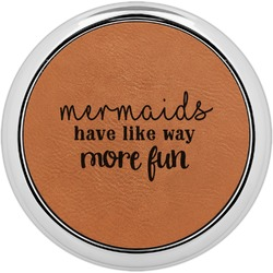 Mermaids Leatherette Round Coaster w/ Silver Edge - Single or Set (Personalized)