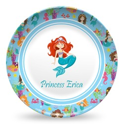 Mermaids Microwave Safe Plastic Plate - Composite Polymer (Personalized)