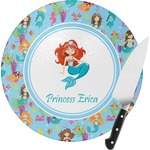 Mermaids Round Glass Cutting Board (Personalized)