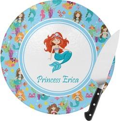Mermaids Round Glass Cutting Board (Personalized)