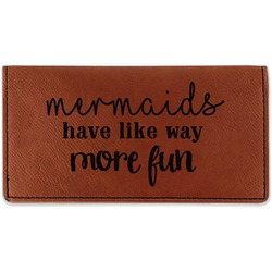 Mermaids Leatherette Checkbook Holder - Double Sided (Personalized)