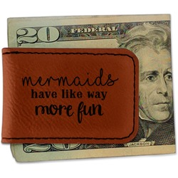 Mermaids Leatherette Magnetic Money Clip (Personalized)