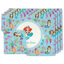 Mermaids Linen Placemat w/ Name or Text