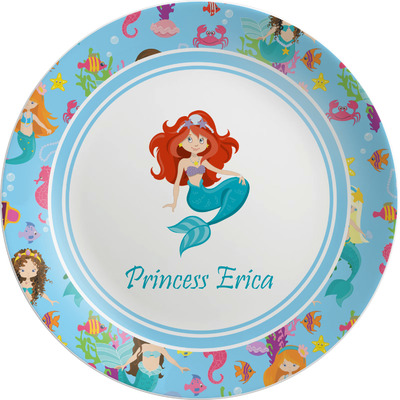 "Mermaids Melamine Salad Plate - 8"" (Personalized)"