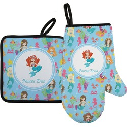 Mermaids Oven Mitt & Pot Holder Set w/ Name or Text