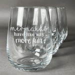 Mermaids Stemless Wine Glasses (Set of 4) (Personalized)