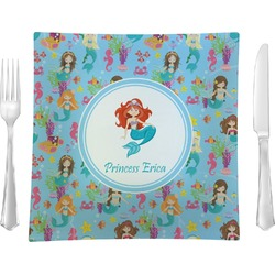 """Mermaids Glass Square Lunch / Dinner Plate 9.5"""" - Single or Set of 4 (Personalized)"""