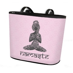 Lotus Pose Bucket Tote w/ Genuine Leather Trim (Personalized)