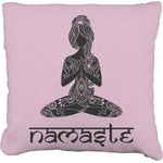 Lotus Pose Faux-Linen Throw Pillow (Personalized)