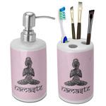 Lotus Pose Bathroom Accessories Set (Ceramic) (Personalized)