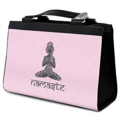 Lotus Pose Classic Tote Purse w/ Leather Trim (Personalized)