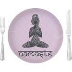 """Lotus Pose Glass Lunch / Dinner Plates 10"""" - Single or Set (Personalized)"""