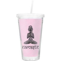Lotus Pose Double Wall Tumbler with Straw (Personalized)