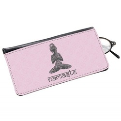 Lotus Pose Genuine Leather Eyeglass Case (Personalized)