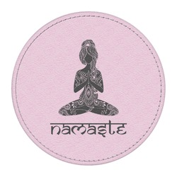 Lotus Pose Round Desk Weight - Genuine Leather  (Personalized)