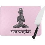 Lotus Pose Rectangular Glass Cutting Board (Personalized)