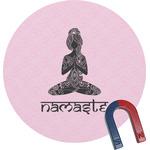 Lotus Pose Round Fridge Magnet