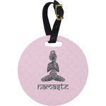 Lotus Pose Round Luggage Tag (Personalized)