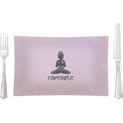 Lotus Pose Glass Rectangular Lunch / Dinner Plate - Single or Set (Personalized)