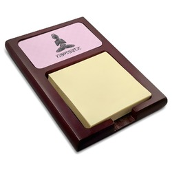 Lotus Pose Red Mahogany Sticky Note Holder (Personalized)