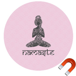 Lotus Pose Round Car Magnet (Personalized)