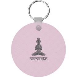 Lotus Pose Round Keychain (Personalized)