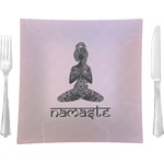 """Lotus Pose Glass Square Lunch / Dinner Plate 9.5"""" - Single or Set of 4 (Personalized)"""