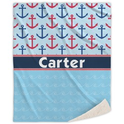 Anchors & Waves Sherpa Throw Blanket (Personalized)